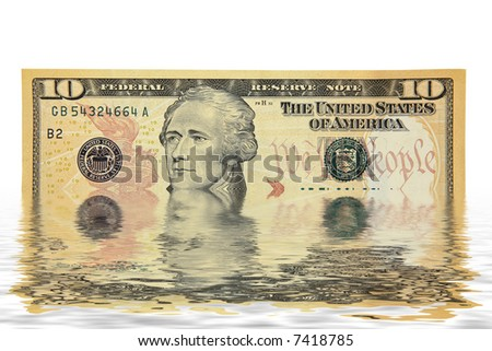 Wet Flooded Ten dollar bill American money isolated on white background