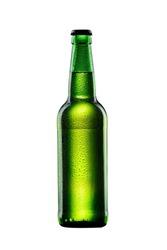 wet green glass bottle of beer on white background