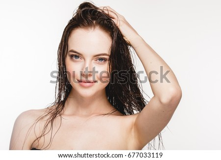 Wet hair woman portrait, beauty hair healthy skin care concept, beautiful model with wet hair isolated on white. #677033119