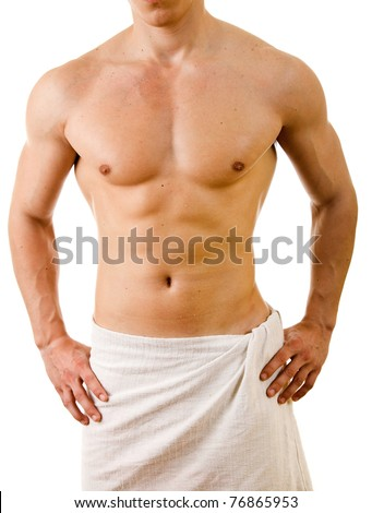 Wet muscular sexy man wrapped in the towel, isolated on white
