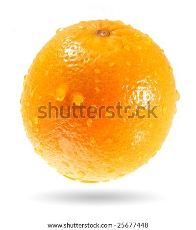 Wet orange - stock photo