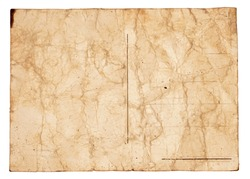 Wet paper texture. Shot of vintage postcard Isolated on white. Abstract background. Old and glued paper. Ideal for nostalgia concept