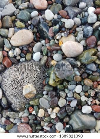 wet pebbles, coloured pebbles, natural