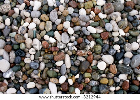 wet pebbles on a beach