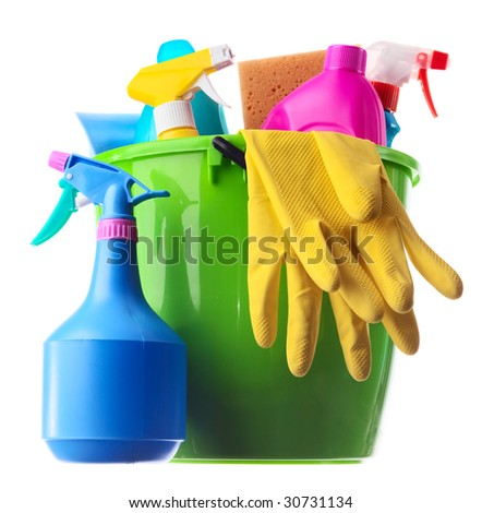 Wet plastic bucket with cleaning supplies isolated on white background
