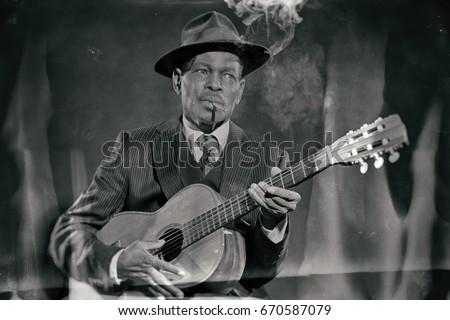 Wet plate look like photo of vintage african american jazz musician.