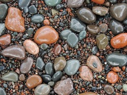 Wet rocks on North Shore of Lake Superior in Minnesota