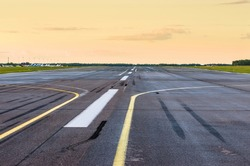Wet Runway airport airplane strip plane asphalt road line