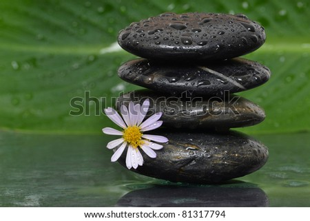 wet stacked spa stones