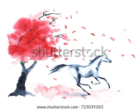 Wet watercolor galloping horse with ink blots stains autumn tree with red fall leaves and wind on white. Hand drawing illustration of running stallion in motion.