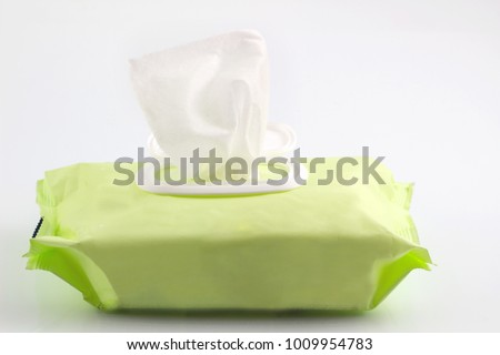 Wet wipes in package box isolated white background, with clipping path.