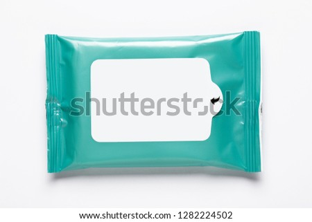 Wet wipes package, blank mock up, hand cleaning wet napkins