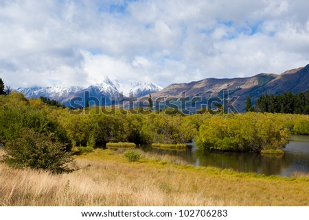 Wetland swamp in glacial Rees Dart river valley near Glenorchy with Mt Aspiring National Park, Southern Alps, vista backdrop forming an iconic New Zealand landscape