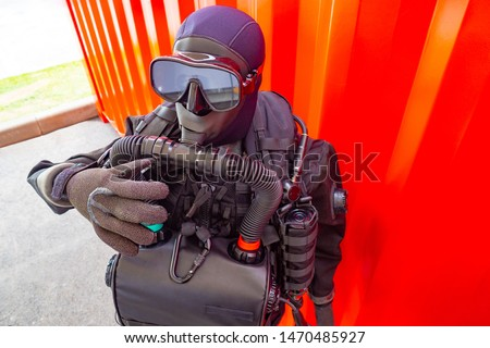 Wetsuit for diving. Technical diving. Wetsuit equipment for industrial diving. Diving business. Professional  work. #1470485927