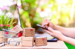 WFH: Online shopping for Startup SME business and mail delivery. Stay home stay safe. Social Distancing and Physical Distancing. In response to the COVID-19 pandemic.