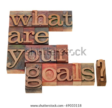 what are your goals question in vintage wooden letterpress printing blocks, stained by color inks, isolated on white