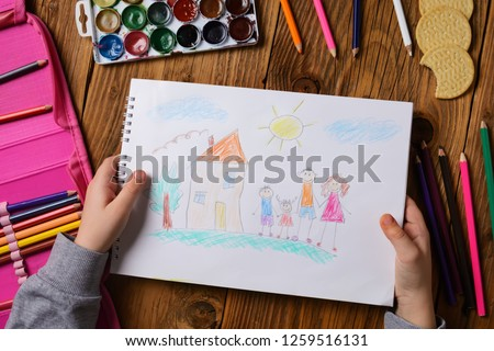What can a children's picture tell. Photo of a children's picture on a theme - My happy family, painted with colored pencils. Psychological testing of the child using the picture.
