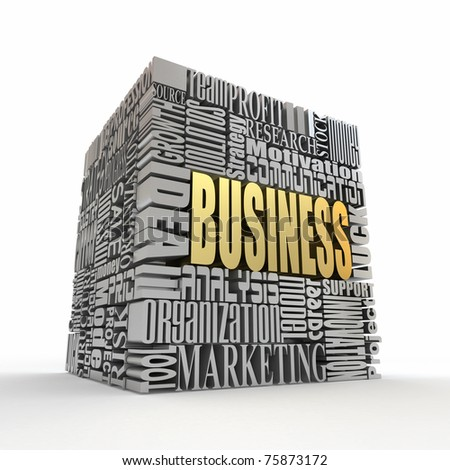 What is a business. The concept of the words on white isolated background. 3d