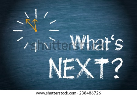 What is next ? Blue chalkboard with clock and text