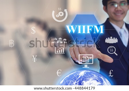 What's In It For Me  concept  presented by  businessman touching on  virtual  screen - image element furnished by NASA- SOFT SILVER TONE #448844179
