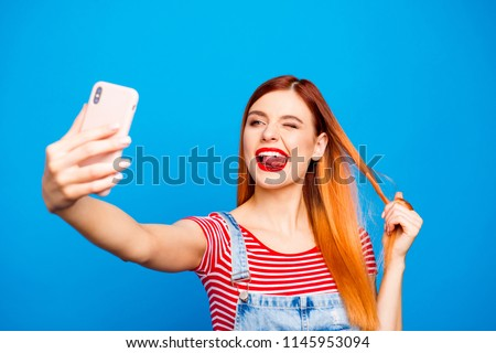 What's up instagram! Close up photo portrait of funky fancy cool swag person taking making photograph isolated on bright vivid shine background