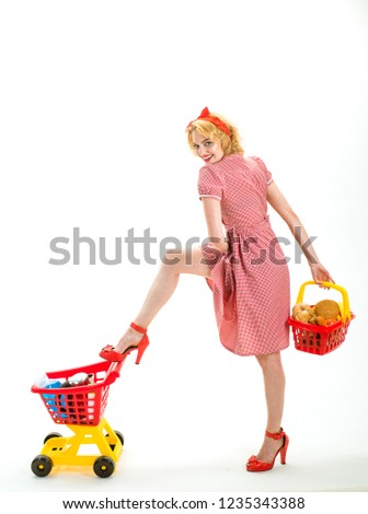 What to buy. Going for shopping. I want to buy this. happy retro woman go shopping. commercial activity of sexy vintage woman isolated on white, copy space. retro shopping in modern life.