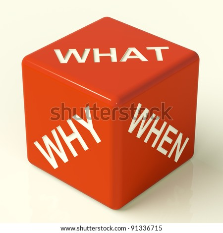 What Why When Red Dice Representing Questions And Choices