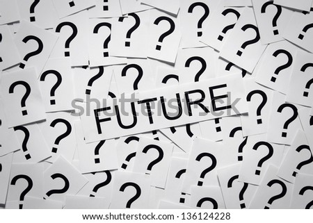 What will happen in the future? The future is unknown. Many question marks on paper. Question concept.