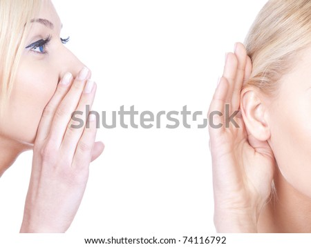 What? women said, woman listening to gossip, whispering isolated on the white background
