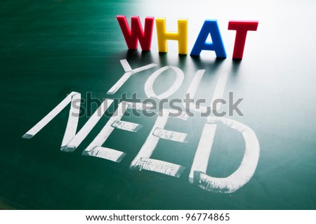 What you need concept, colorful words on blackboard. - stock photo