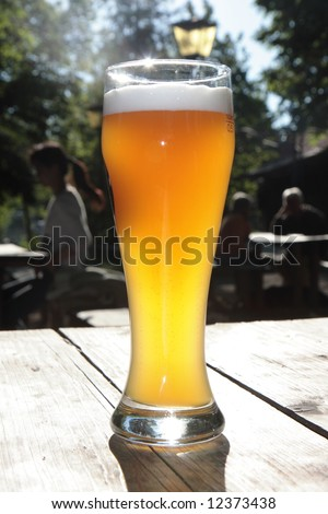 wheat beer in a beergarden