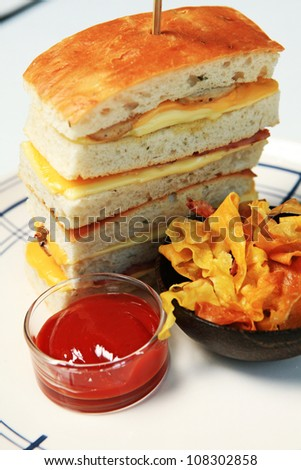 wheat bread cheese and bologna sandwich on a  white plate with tomato sauce and french fries