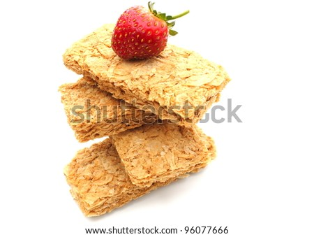 Wheat breakfast biscuits with fresh strawberry