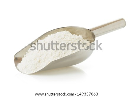 wheat flour and bread isolated on white background - stock photo