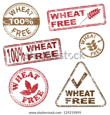 Wheat free food. Rubber stamp illustrations