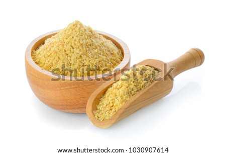 Wheat germ in wood bowl and scoop on white background Stock photo ©