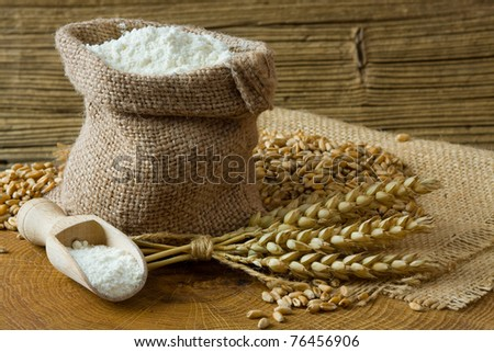 Wheat grain and flour in small burlap bag on wooden background