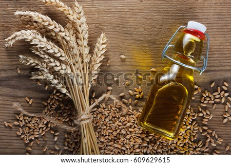 Wheat grain and wheat germ oil Stock photo ©