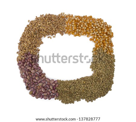wheat, lentils, popcorn and beans used.