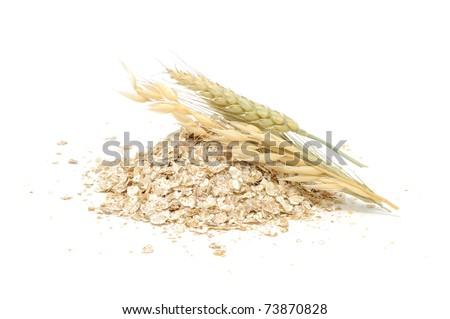 Wheat, Oat And Rye Flakes with Ears Isolated on White Background