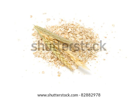 Wheat, Oat, Rye and Barley Flakes with Ears Isolated on White Background