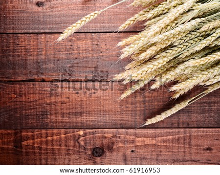 wheat on the old wooden table - stock photo