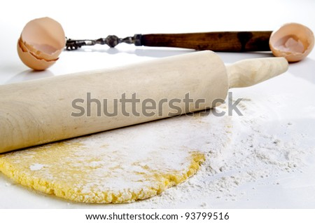 Wheat semolina pasta dough rolled out