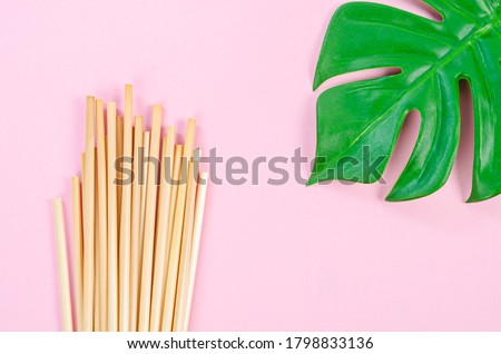 Wheat straw for drinking water with green leaves on pink background. Zero waste concept. Stock photo ©