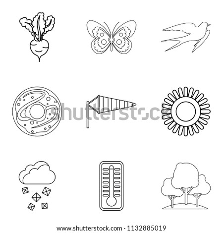 Wheat variety icons set. Outline set of 9 wheat variety icons for web isolated on white background