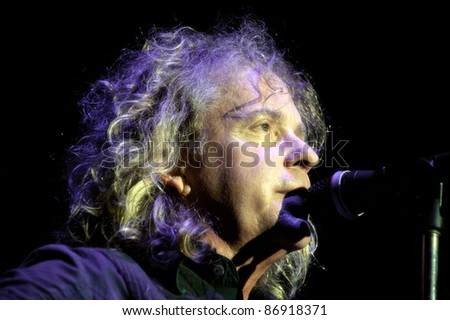 WHEATLAND, CA - OCT 15: Jack Blades of Night Ranger performs as part of Journey\'s Eclipse Tour at Sleep Train Amphitheater on October 15, 2011 in  Wheatland, California.