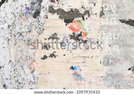 wheatpaste street art poster, glue residue,
