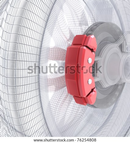 Wheel and brake pads, wire model