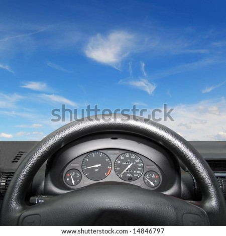 Wheel and dashboard of a car