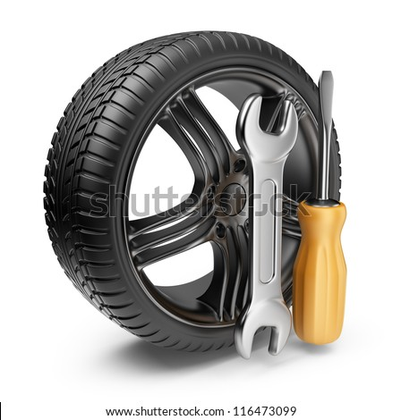 Wheel and tools. Car service. 3D Icon isolated on white background